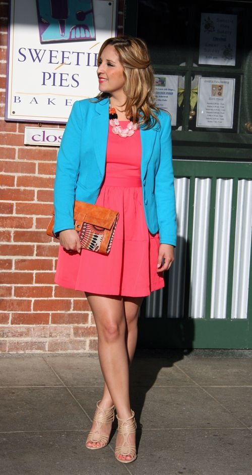 Spring Fashion Trend: Color Blocking: Turquoise Skirt, Color Blocking, Colors Blocks, Coral Shirt