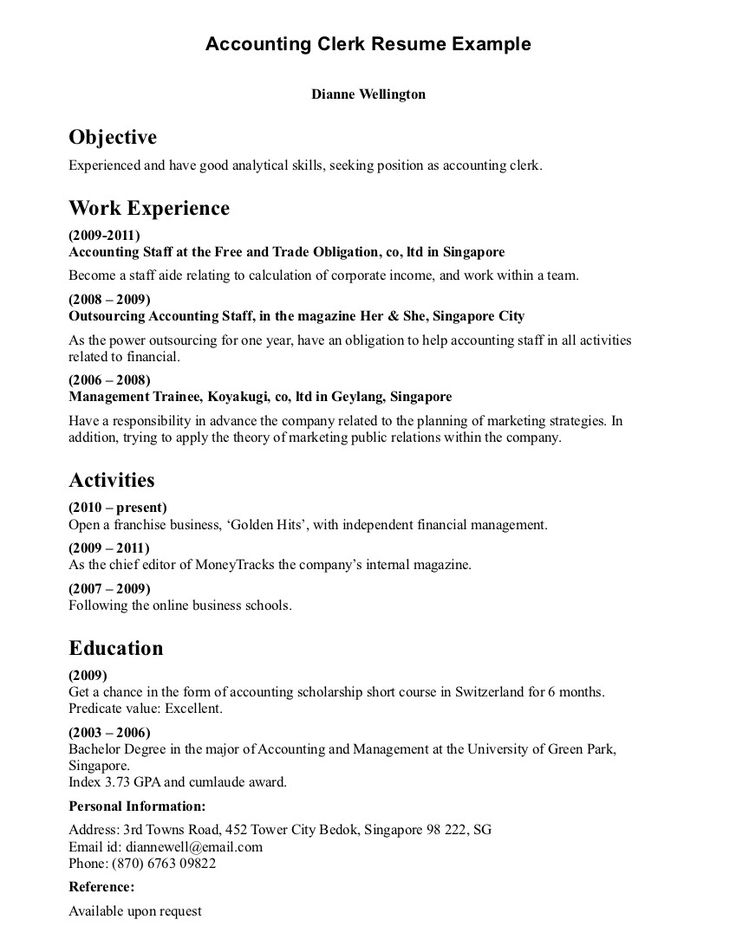7 best clerical resumes images on Pinterest Resume examples