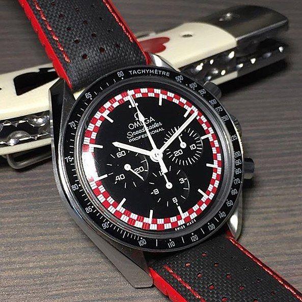 "Here's the Omega Speedmaster ""TinTin"" fitted with a Hirsch Robby strap, great match up from @jerkchicken22 , #speedmaster #speedytuesday #omega #moonwatch #watch #thewatcherist #bracelet #wrist #moon #moonwatch #moonlanding #space #nasa #watchfam #dailywatch #watchporn #watchofinstagram #wristporn #thewatchobsession #aberystwyth #timepiece #woibook #tintin"