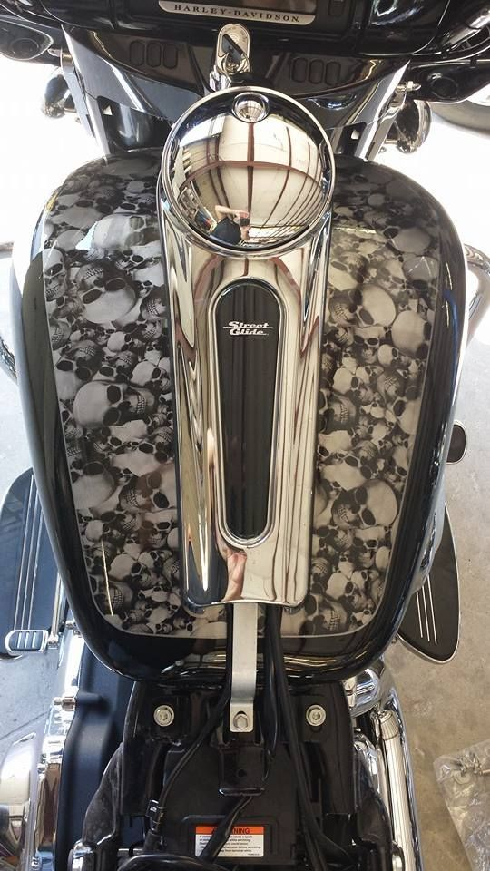 Custom 2014 Harley Davidson with Skulls Hydro-Graphic print details. From the pros at Grace-FX