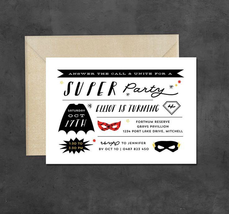 Superhero Birthday Party Invitation - printable -  batman, spiderman, superman, flash, boys comic hero theme invite by BonjourBerry on Etsy https://www.etsy.com/listing/242935133/superhero-birthday-party-invitation