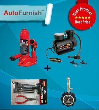 Autofurnish Tyre Repair Combo - 300 psi, 6081, Pressure Gauze, 2 ton jack
