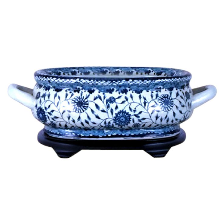 Unique Blue & White Porcelain Foot Bath Basin Chinese Floral Motif with Base