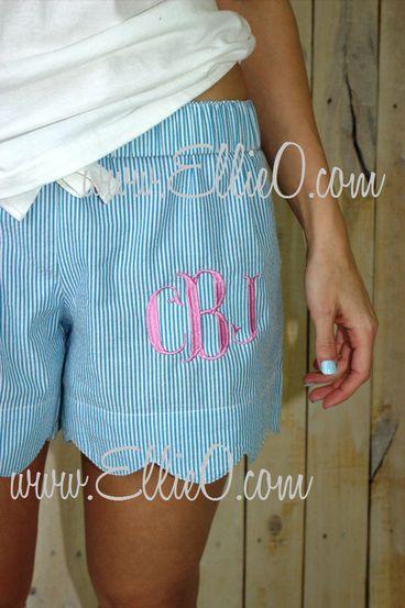 Women's Blue Scallop Edge Seersucker Lounge Shorts