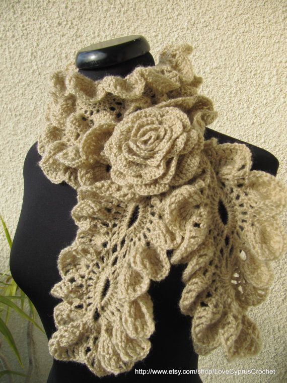 PDF File Crochet Scarf Pattern - Diagram Gorgeous Lady Ruffle Scarf, Beautiful Romantic Neckwarmer Pattern number 14, Cyprus Crochet Lyubava~$3.99