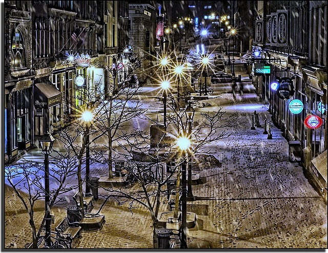 The Granville Street mall in downtown Halifax, home to a number of pubs, bars, restaurants, shoppes & galleries   by Dave the Haligonian, via Flickr