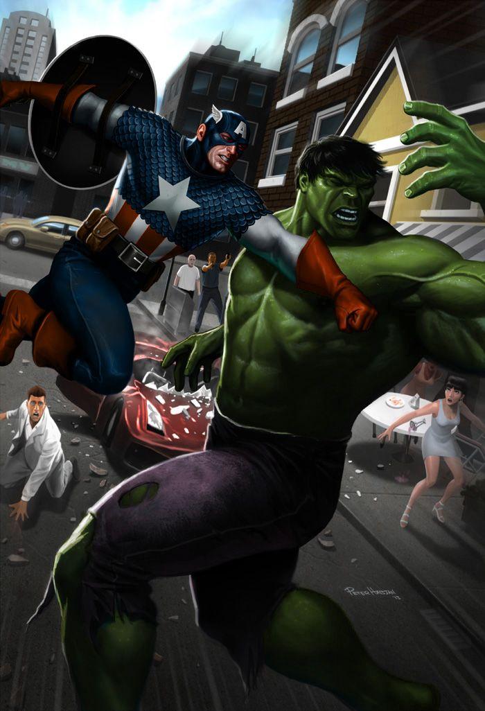 Cap Punches Hulk by Habjan81.deviantart.com | comics y ...