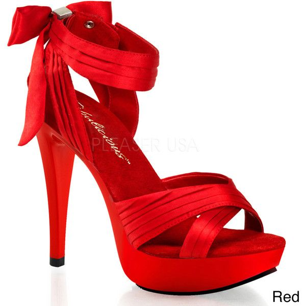 Pleaser Fabulicious Women's 'Cocktail-568' Satin Criss-cross Stiletto Heels featuring polyvore, fashion, shoes, pumps, heels, red, red shoes, platform stiletto pumps, red pumps, stiletto pumps and platform shoes