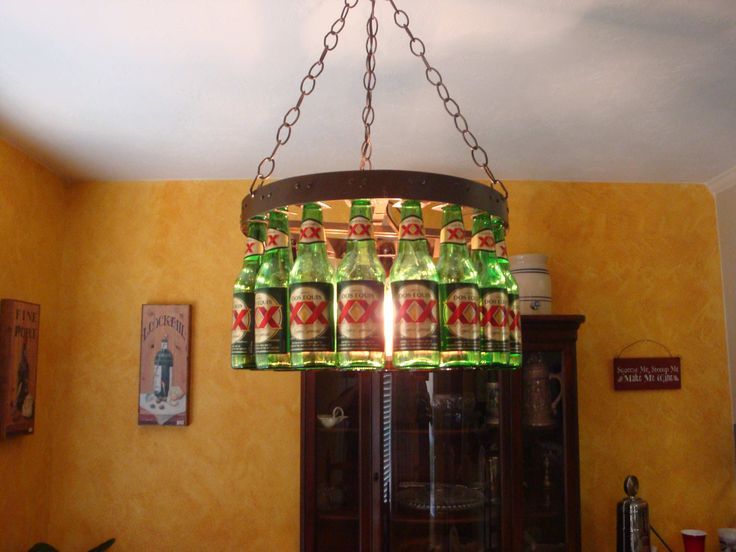 10 best beer bottle lights and chandeliers images on pinterest decoration wine glass beer bottle chandelier how to make wine glass chandelier wine cork candle holder wine and glass rack wine glasses holder or aloadofball Choice Image