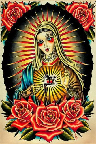 "Faith Mary by Tyler Bredeweg Tattoo Art Print Traditional Artwork ""Virgin Mary"" | eBay"