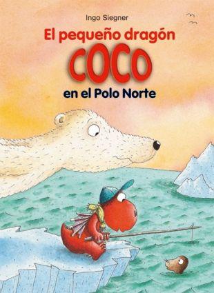 """""""El pequeño dragón Coco en el Polo Norte"""" de Ingo Siegner. Coco y sus amigos Matilde y Óscar rescatan a un oso polar que ha llegado en un témpano. Pronto descubren que el oso no puede vivir en el clima de la isla del Dragón, ¡así que tendrán que acompañarlo de vuelta al Polo Norte! DE 7 A 9 AÑOS. Signatura: R GAL peq"""