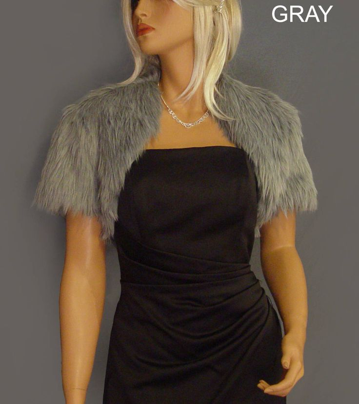 Faux fur bolero shurg jacket short sleeve wedding wrap in Angora bridal coat stole cover up FBA200 AVL in silver gray and 3 other colors by SpazooieBridal on Etsy https://www.etsy.com/listing/516364696/faux-fur-bolero-shurg-jacket-short