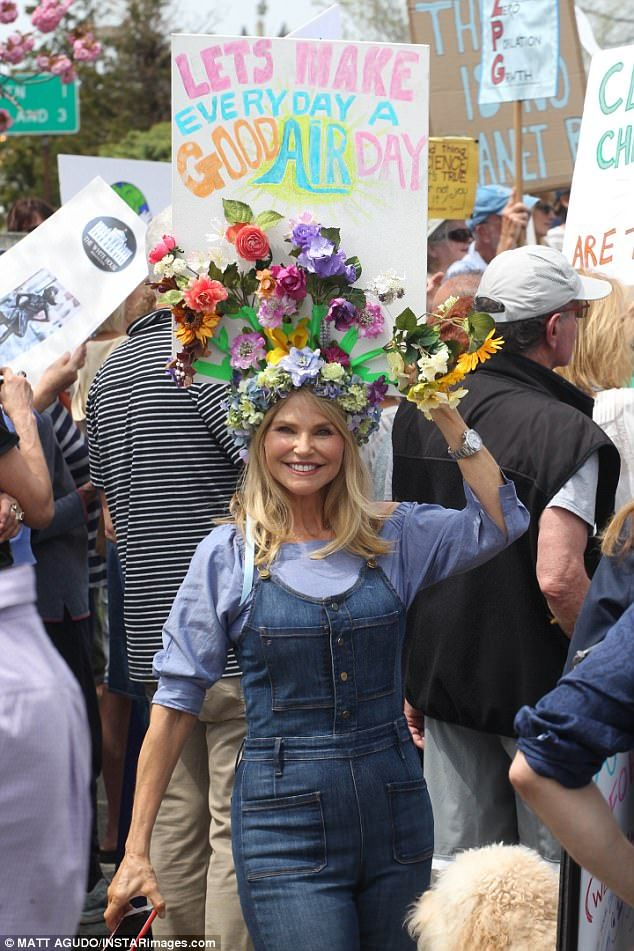 Timeless beauty: Christie Brinkley showed off her age-defying beauty  as she attended a climate change march in the Hamptons on Saturday