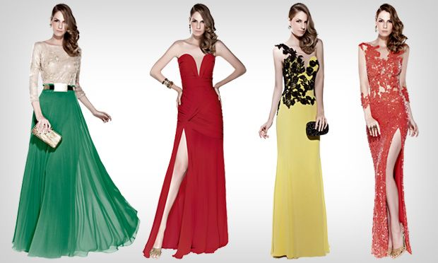 Para estas ocasiões, a aposta são cores fortes, como amarelo, coral, vermelho e verde. Rendas, bordados e brilhos continuam presentes. Vestidos de festa