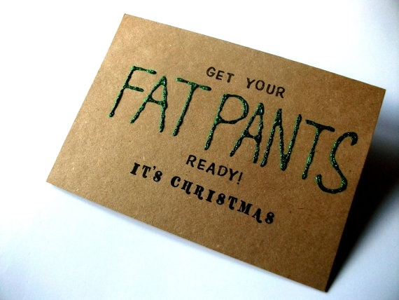 Funny Christmas Card  FAT PANTS  Kraft Brown by stuffannaloves, kr25.00