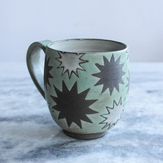 Star Mug, Handmade Ceramic Mug by Foxtail Pottery, Mandy Shoger in Seattle.   Order on Etsy.   Moroccan inspired design.