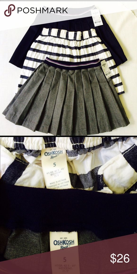 Three Girls School Skirts Two with tags, one worn once. More pics coming! Great skirts from Osh Kosh, my daughter just prefers dresses! Each one Retail $28! Get them now!! Share mine & I'll share yours! REASONABLE offers gladly received! :-) Osh Kosh Bottoms Skirts