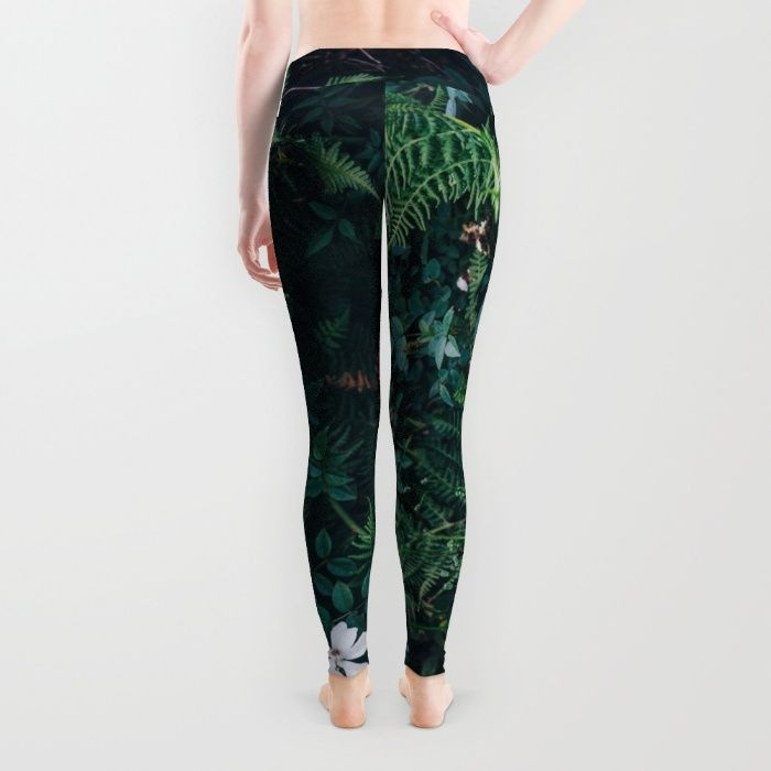 Fleurs Vertes Leggings by Mixed Imagery | Society6