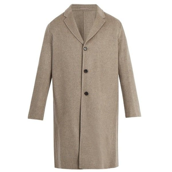 Acne Studios Chad wool and cashmere-blend jacket (€975) ❤ liked on Polyvore featuring men's fashion, men's clothing, men's outerwear, men's jackets, mens wool jacket, mens light weight jackets, mens lightweight jacket, mens single breasted jacket and mens beige jacket