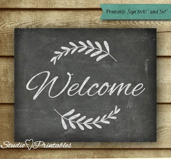 Printable Chalkboard Welcome Sign - Chalkboard Art Print - Chalk Script & Laurels - Typography DIY
