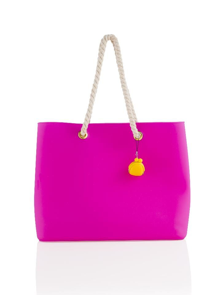 Brandani - Easy Bag fashion fucsia silicone con manici in corda