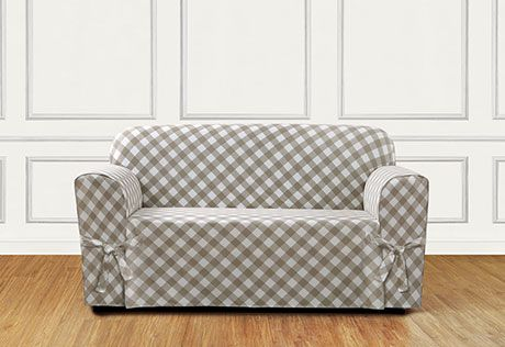 Sure Fit Slipcovers Buffalo Check One Piece Straight Skirt w/Cord Slipcover - Loveseat