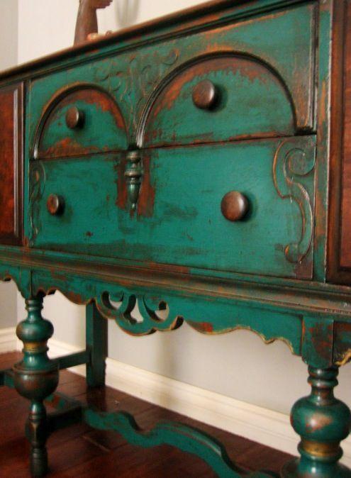 Glazed Turquoise Furniture | Distressed turquoise sideboard