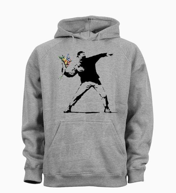 Banksy Flower Thrower Funny Hipster Tumblr Mens Hoody Ladies Hoodie Unisex Top Casual Wear(dtgselp_2053_mens)