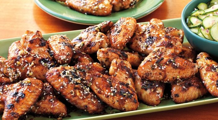 Husband gives this a 10/10. Check out this delicious recipe for Spicy Sesame Chicken Wings with Cucumber Salad from Weber—the world's number one authority in grilling.