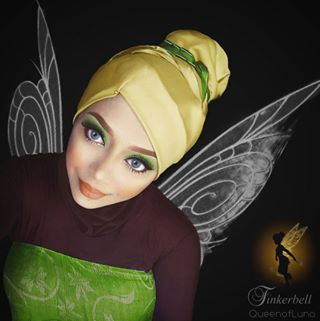She also does so much more than the princesses: Here's Tinkerbell. | This Woman Uses Her Hijab And Makeup To Transform Into Disney Characters