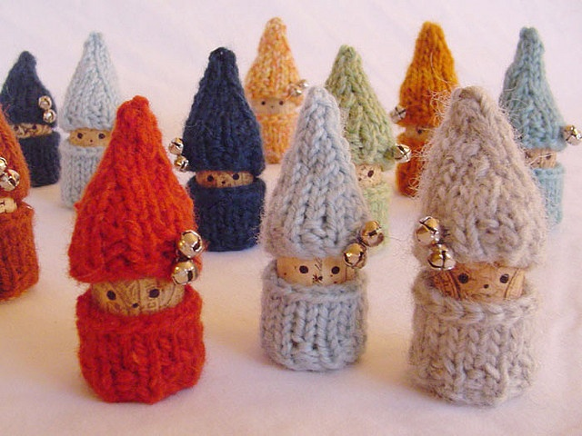 """Wine cork """"gnomes"""" (Danish """"nisse"""" by elliphantom)... What a cute way to reuse corks and decorate for A Scandinavian Christmas."""