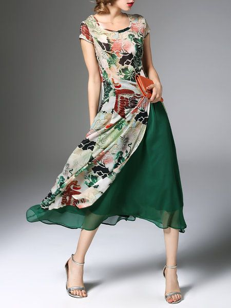 I think this material would annoy the hell out of me but it's beautiful. Green Floral Two Piece Casual Midi Dress
