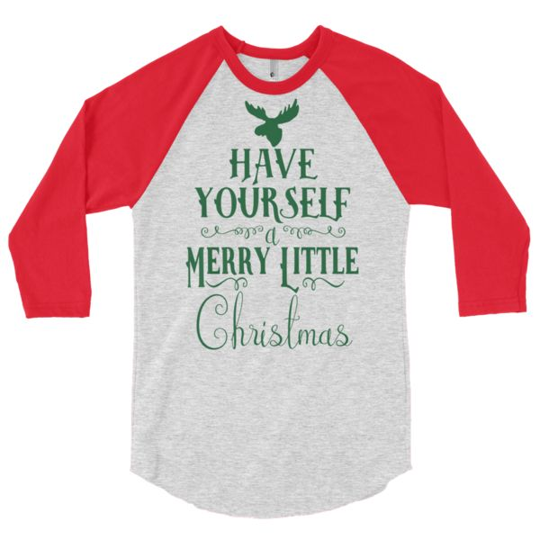 Merry Little Christmas #bean and jean  A stylish spin on the classic baseball raglan. The combed cotton blend makes it super soft, comfortable, and lightweight. Canadian Design - Ethically made in the USA, sweatshop free