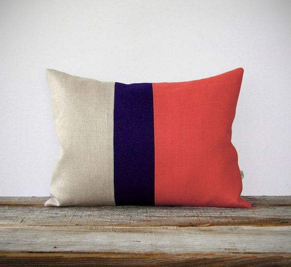 Color Block Stripe Pillow in Coral, Navy and Natural Linen by JillianReneDecor (12x16) Modern Home Decor Stripe Colorblock Trio Gift for Her on Etsy, $55.00