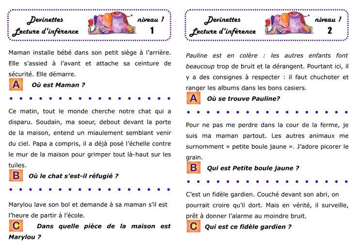 CE1 : Dossier de lecture d'inférences en autonomie