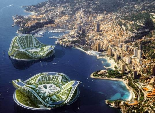 'lilypad, green floating city, floating eco utopia, lilypage city, floating cities, biomimicry inspired city, Vincent Callebaut, lilypad floating city, global warming solution, rising seas concept, refugee city, climate refugee