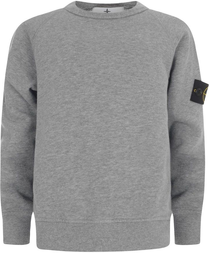 Stone Island Boys Grey Cotton Branded Sweater on shopstyle.co.uk