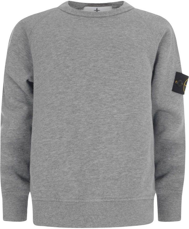 Stone Island Boys Grey Cotton Branded Sweater on shopstyle.co.uk