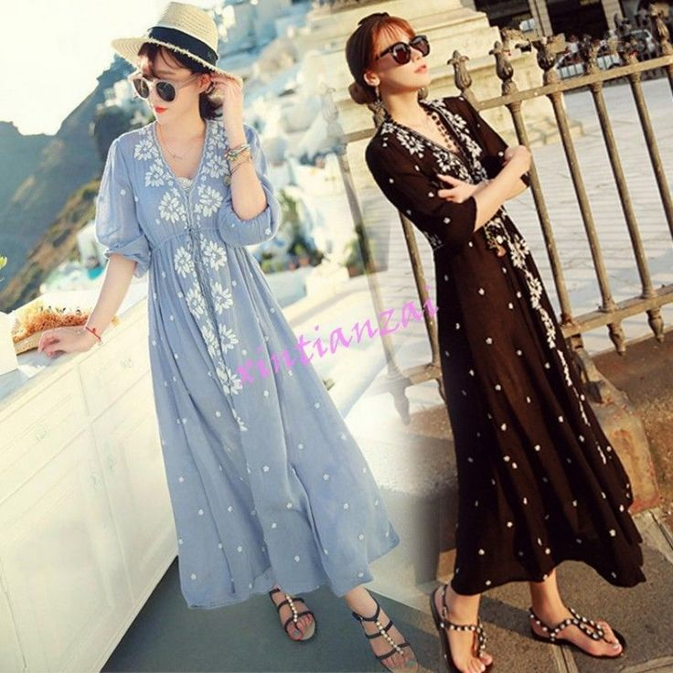 Womens Embroidery Boho Beach Cotton Linen Loose V-Neck Long Dress Beach S-3Xl