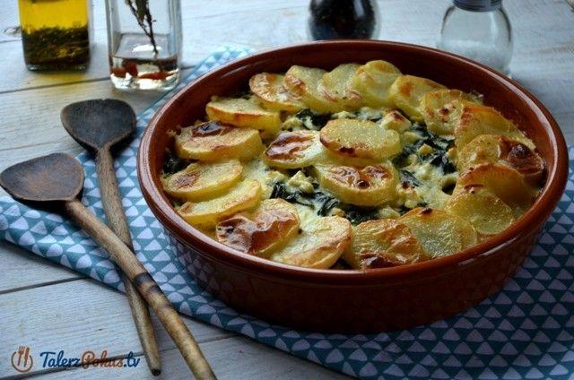 Ziemniaki zapieczone ze szpinakiem i fetą to świetny dodatek do mięs czy ryb, ale taka zapiekanka może też być samodzielnym daniem. Przepis jest bardzo prosty i smakowity, polecam do wypróbowania !