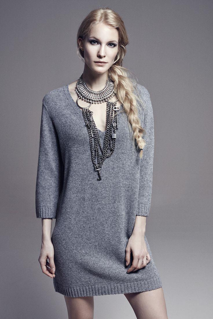 ASHLEY - V-Neck Quarter-Sleeve Wool Knit Dress