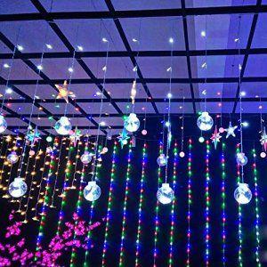 Rideaux Lumières 12 Cordes 120 Perles Feux De Guirlandes Lumineuses LED Pour Mariage, Anniversaire, Noël Lampe décorative UE/ US Prise 220V