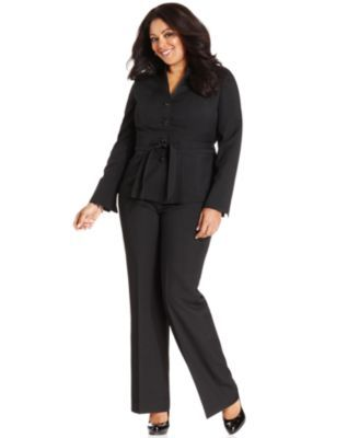 Le Suit Plus Size Suit, Belted Jacket & Trousers Plus Size Suits on PopScreen