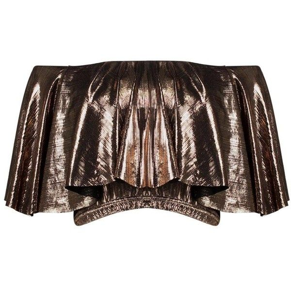 Boohoo Bella Metallic Cropped Bardot Top | Boohoo ($24) ❤ liked on Polyvore featuring tops, brown tops, metallic top, cut-out crop tops, flat top and cropped tops