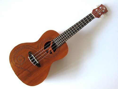 """Luna Maluhia Peace Concert Mahogany Ukulele by Luna. $129.00. Peace begins with a smile. ~Mother Teresa~  """"Maluhia"""" means peace in Hawaiian. The Peace design on this concert uke is a very special one for us here at Luna as it embodies a philosophy we hold dear. It features a laser cut peace sign at the sound hole and the word """"peace"""" in different languages forming a graceful continuum across the soundboard. So, go forth and raise smiles through music.the universal langu..."""