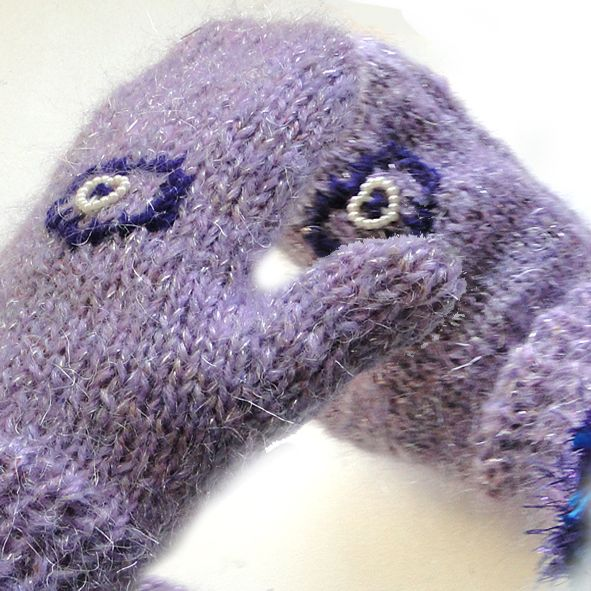 Warm Chunky Mohair Mittens - Pearl Heart, Unique Christmas Gifts, Quality Greeting Cards, Luxury Christmas Decorations,Trendy Hand Knitted Accessories, Luxury British Made
