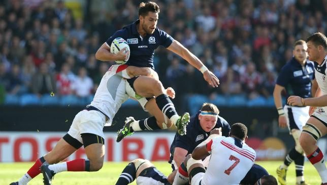 Sean Maitland scored the 100th try of the Rugby World Cup to help Scotland make it two wins from two in a 39-16 victory over United States in Leeds.