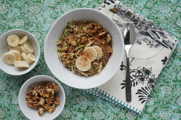 Zucchini Bread Oatmeal - A yummy way to get a serving of vegetables at breakfast! Limit the brown sugar topping to 2 teaspoons, leave out the maple syrup, and limit the chopped walnuts to 2 tablespoons. Top with half of a sliced banana for a serving of fruit.