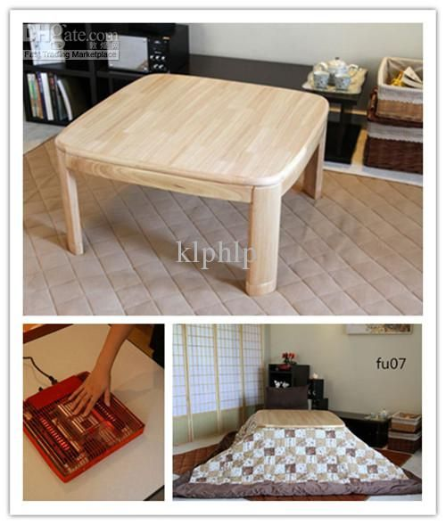 (4pcs/set) Kotatsu Set Table Futon Heater Home Furniture Living Room Square  80cm Natural Color Kotatsu Heated Table Online Shopping Japanese