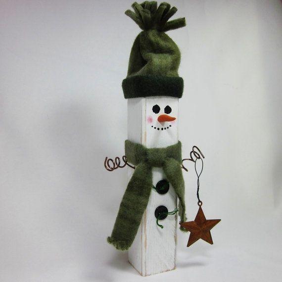 wooden snowman crafts | Wooden Snowman Shabby Home Decor Sage Hunter Green ... | crafts